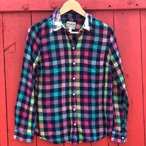 OLD NAVY L plaid button up long sleeve shirt top